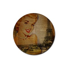 Yellow Dress Blonde Beauty   Drink Coaster (round) by chicelegantboutique