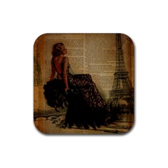 Elegant Evening Gown Lady Vintage Newspaper Print Pin Up Girl Paris Eiffel Tower Drink Coaster (square) by chicelegantboutique