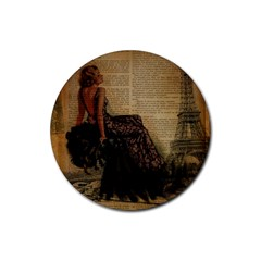 Elegant Evening Gown Lady Vintage Newspaper Print Pin Up Girl Paris Eiffel Tower Drink Coaster (round) by chicelegantboutique