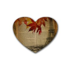 Elegant Fall Autumn Leaves Vintage Paris Eiffel Tower Landscape Drink Coasters (heart) by chicelegantboutique