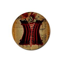 Black Red Corset Vintage Lily Floral Shabby Chic French Art Drink Coaster (round) by chicelegantboutique