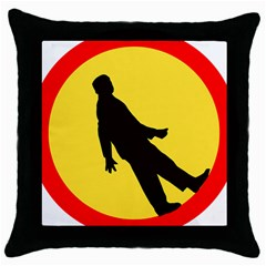 Walking Traffic Sign Black Throw Pillow Case by youshidesign