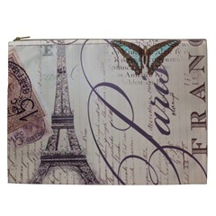 Vintage Scripts Floral Scripts Butterfly Eiffel Tower Vintage Paris Fashion Cosmetic Bag (XXL) by chicelegantboutique