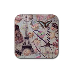 French Pastry Vintage Scripts Floral Scripts Butterfly Eiffel Tower Vintage Paris Fashion Drink Coaster (square) by chicelegantboutique