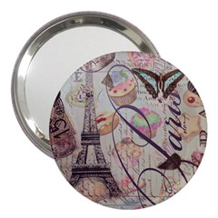 French Pastry Vintage Scripts Floral Scripts Butterfly Eiffel Tower Vintage Paris Fashion 3  Handbag Mirror by chicelegantboutique
