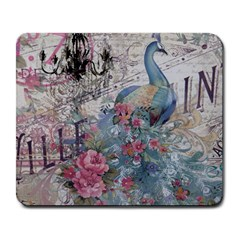 French Vintage Chandelier Blue Peacock Floral Paris Decor Large Mouse Pad (rectangle) by chicelegantboutique