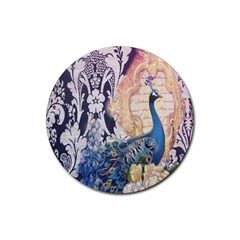Damask French Scripts  Purple Peacock Floral Paris Decor Drink Coaster (round) by chicelegantboutique
