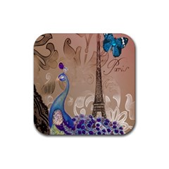 Modern Butterfly  Floral Paris Eiffel Tower Decor Drink Coaster (square) by chicelegantboutique