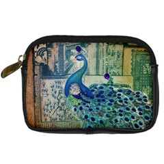 French Scripts Vintage Peacock Floral Paris Decor Digital Camera Leather Case by chicelegantboutique