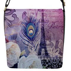 Peacock Feather White Rose Paris Eiffel Tower Flap Closure Messenger Bag (small) by chicelegantboutique