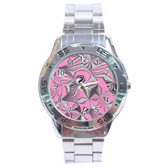Foolish Movements Pink Effect Jpg Stainless Steel Watch (men s)