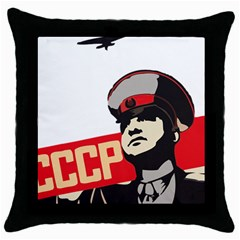 Soviet Red Army Black Throw Pillow Case by youshidesign
