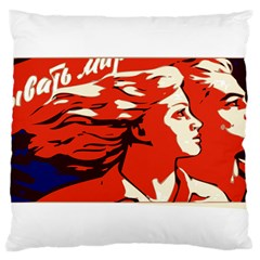 Communist Propaganda He And She  Large Cushion Case (two Sided)  by youshidesign