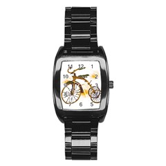 Tree Cycle Men s Stainless Steel Barrel Analog Watch by Contest1753604