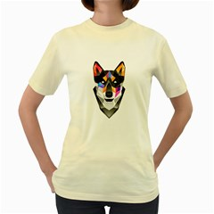 Wolf  Womens  T Shirt (yellow) by Contest1741741