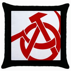 Hammer Sickle Anarchy Black Throw Pillow Case by youshidesign
