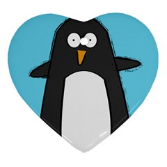 Hello Penguin Heart Ornament (two Sides) by PaolAllen