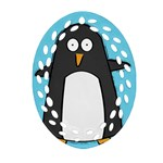 hello penguin Ornament (Oval Filigree) Front