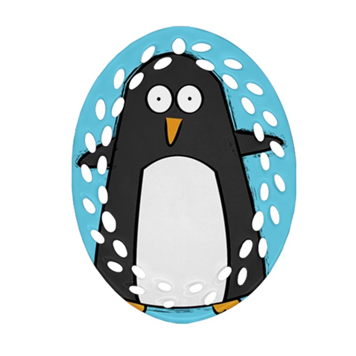 hello penguin Ornament (Oval Filigree)