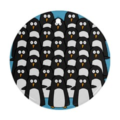 Penguin Group Round Ornament (two Sides) by PaolAllen