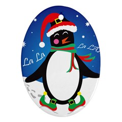 Enthusiastic Christmas Penguin  Oval Ornament (two Sides) by TheFandomWard