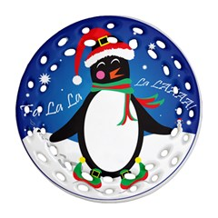 Enthusiastic Christmas Penguin  Round Filigree Ornament by TheFandomWard