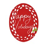 Happy Holidays! Oval Filigree Ornament (Two Sides) Front
