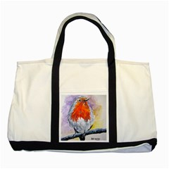 Robin Red Breast Two Toned Tote Bag by ArtByThree