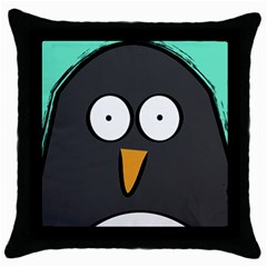 Penguin Close Up Black Throw Pillow Case by PaolAllen