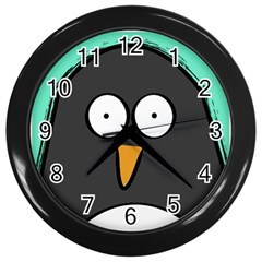 Penguin Close Up Wall Clock (black) by PaolAllen
