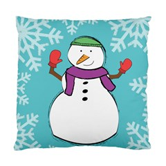 Snowman Cushion Case (two Sided)  by PaolAllen