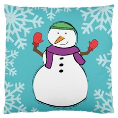 Snowman Large Cushion Case (two Sided)  by PaolAllen