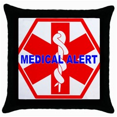Medical Alert Health Identification Sign Black Throw Pillow Case by youshidesign