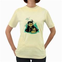 Voodoo Pin Up  Womens  T Shirt (yellow)