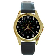 Fireworks Round Leather Watch (gold Rim)  by Contest1762364