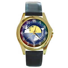 Fishing Dead Round Leather Watch (gold Rim)  by Contest1763580