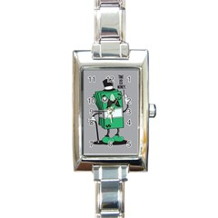 Don t Waste Your Time    Rectangular Italian Charm Watch
