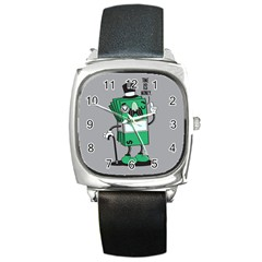 Don t Waste Your Time    Square Leather Watch by Contest1771648