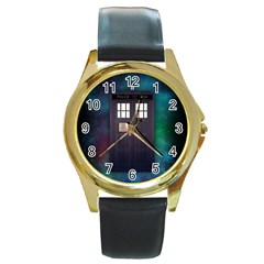 The Time Traveler Round Leather Watch (Gold Rim)