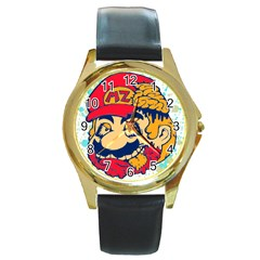 Mario Zombie Round Leather Watch (gold Rim)  by Contest1731890