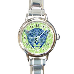 Cheetah Alarm Round Italian Charm Watch by Contest1738807