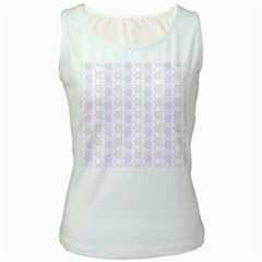 Allover Graphic Soft Pink Womens  Tank Top (white)