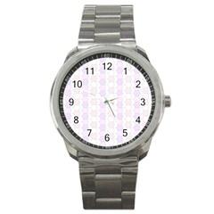 Allover Graphic Soft Pink Sport Metal Watch