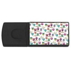 Happy Owls 4gb Usb Flash Drive (rectangle)