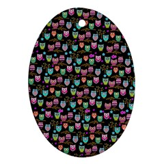 Happy Owls Oval Ornament