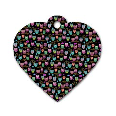 Happy Owls Dog Tag Heart (two Sided)