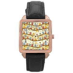 Autumn Owls Rose Gold Leather Watch