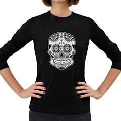 Sugar Skull Women s Long Sleeve Dark T Shirt