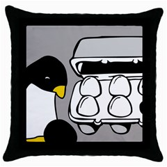 Egg Box Linux Black Throw Pillow Case by youshidesign
