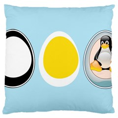 Linux Tux Penguin In The Egg Large Cushion Case (two Sided)  by youshidesign